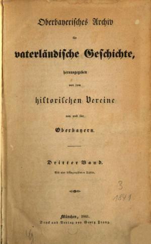 - Oberbayerisches Archiv 1841