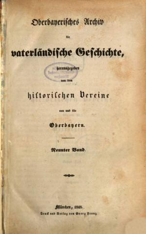 - Oberbayerisches Archiv 1848