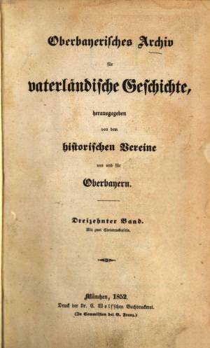 - Oberbayerisches Archiv 1852