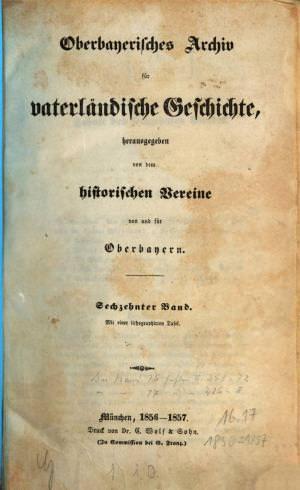 - Oberbayerisches Archiv  1857/1