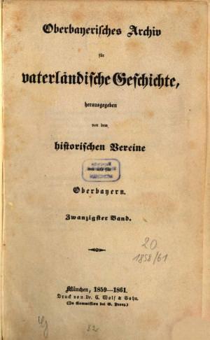 - Oberbayerisches Archiv 1859/61