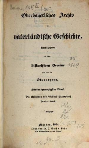 - Oberbayerisches Archiv 1864