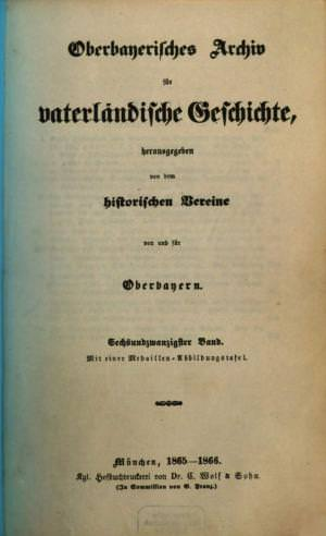 - Oberbayerisches Archiv 1865/66