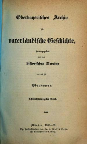 - Oberbayerisches Archiv 1868/69