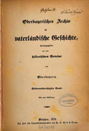 - Oberbayerisches Archiv 1878