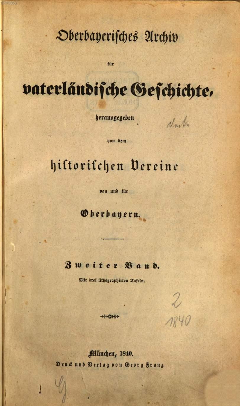 - Oberbayerisches Archiv 1840